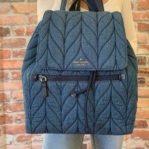 Kate spade LARGE Ellie flap Denim Backpack quilted